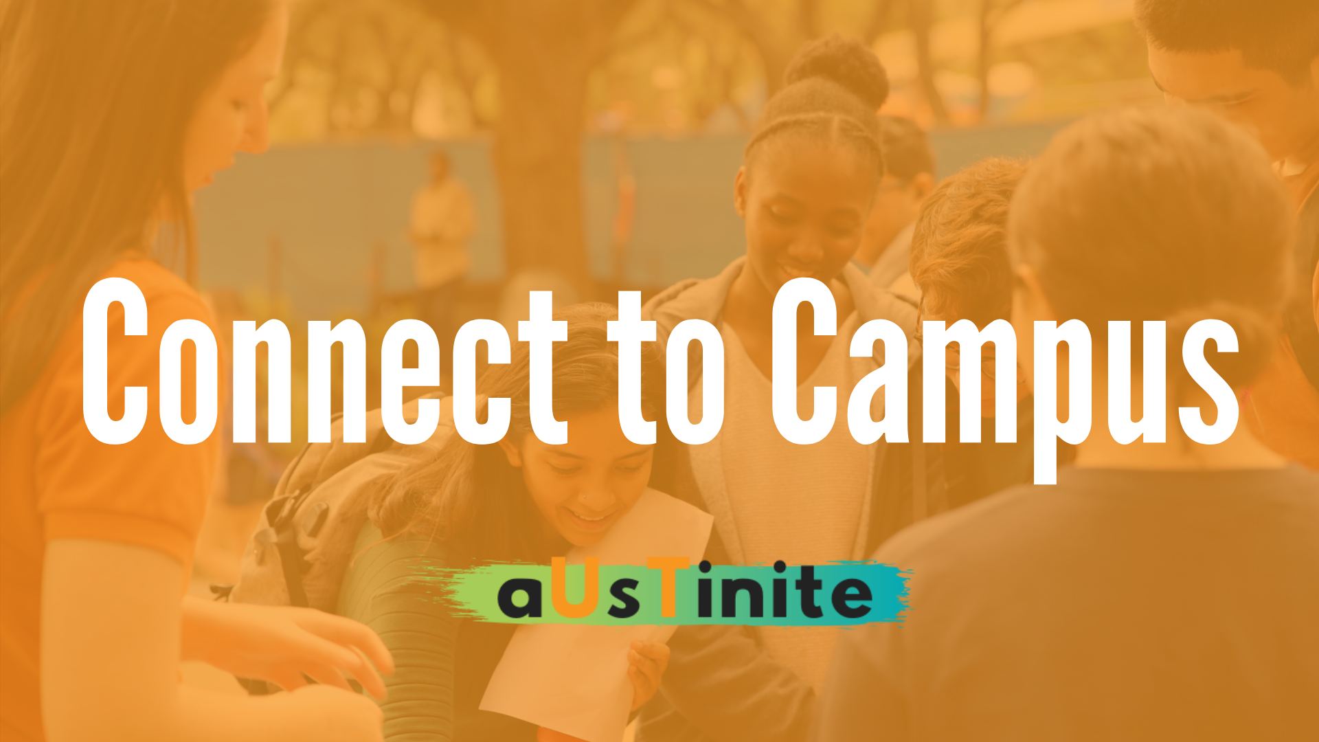 Connect to Campus graphic, photo of crowd of students